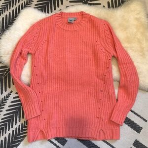 Neon Coral Cable Knit Crew Neck Fisherman Sweater